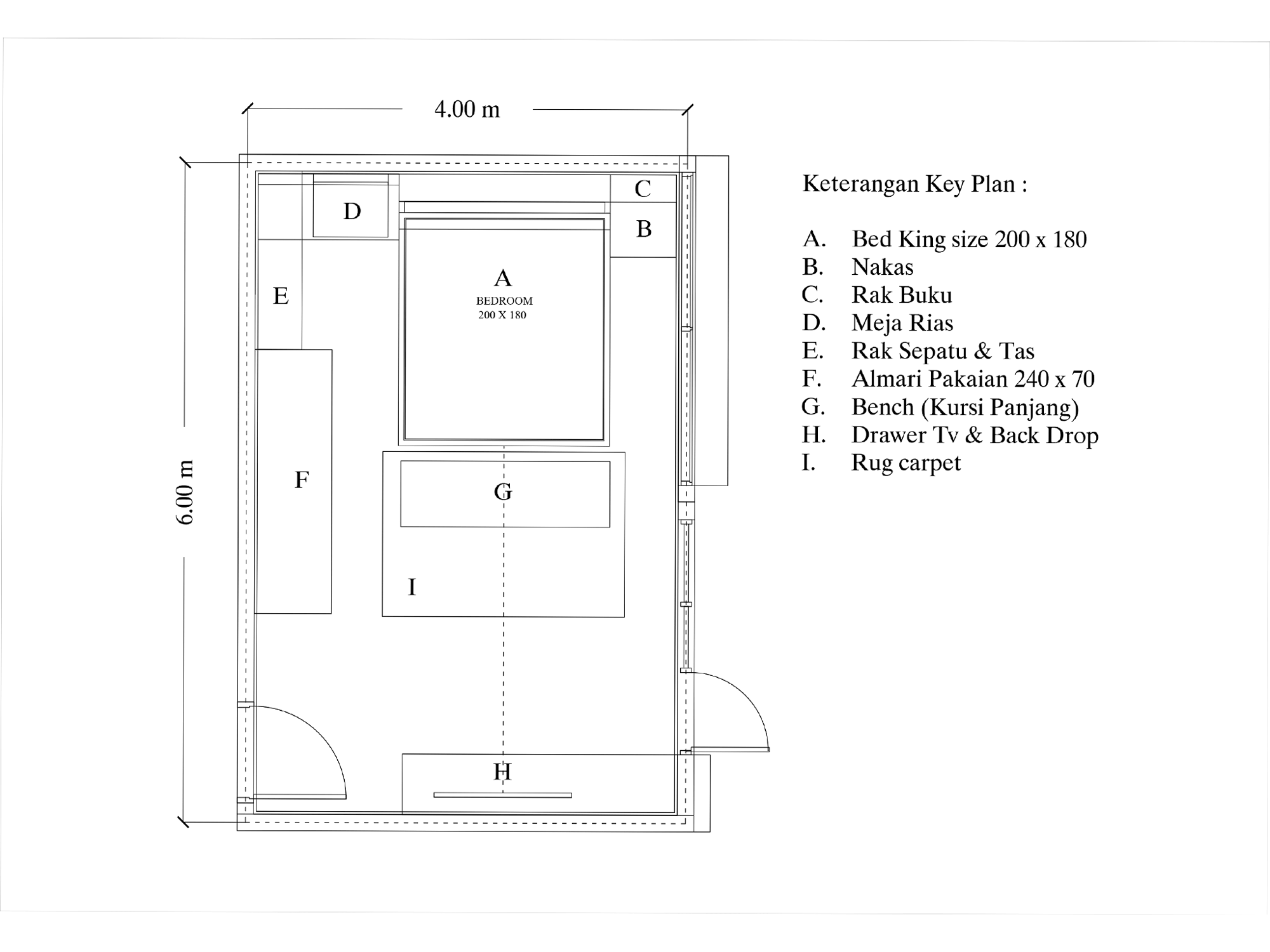 interior layout plan kamar tidur utama