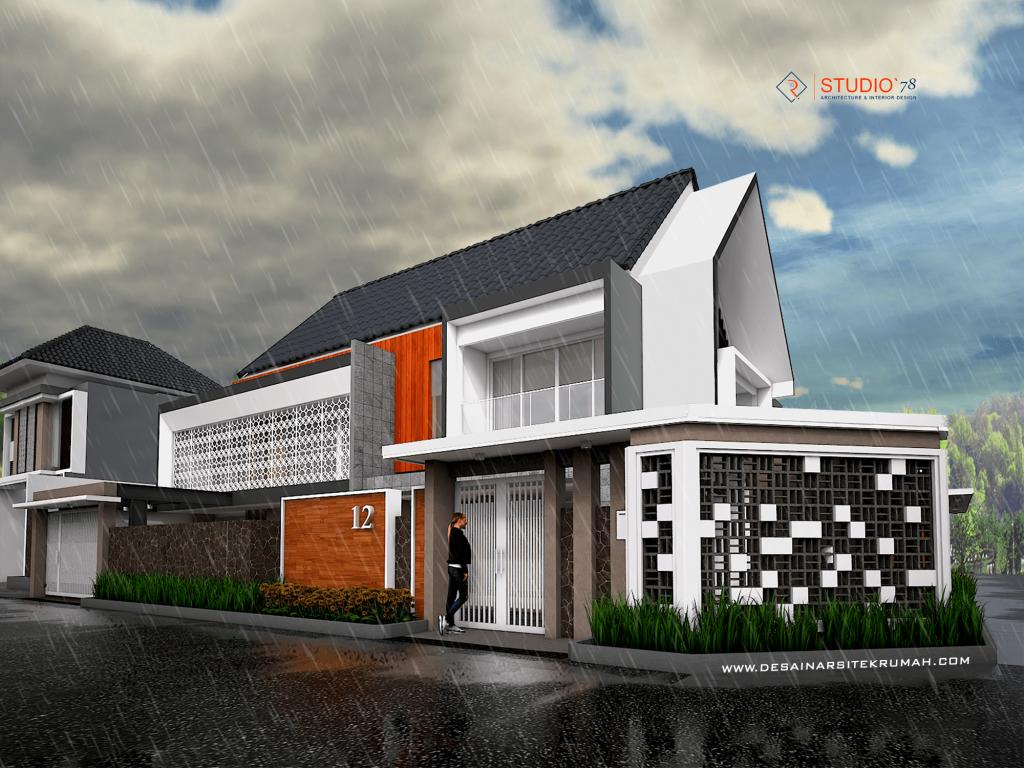 desain arsitektur rumah tropis kontemporer dua lantai di malang jawa timur