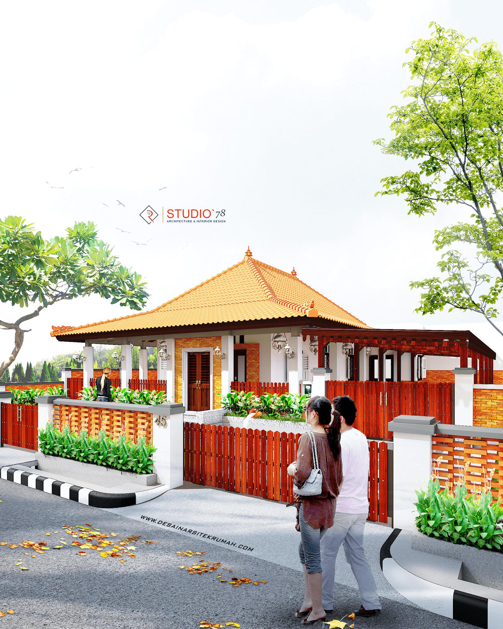 3d-prespektive tampak depan desain arsitektur rumah etnik kontemporer di kepanjen malang jawa timur