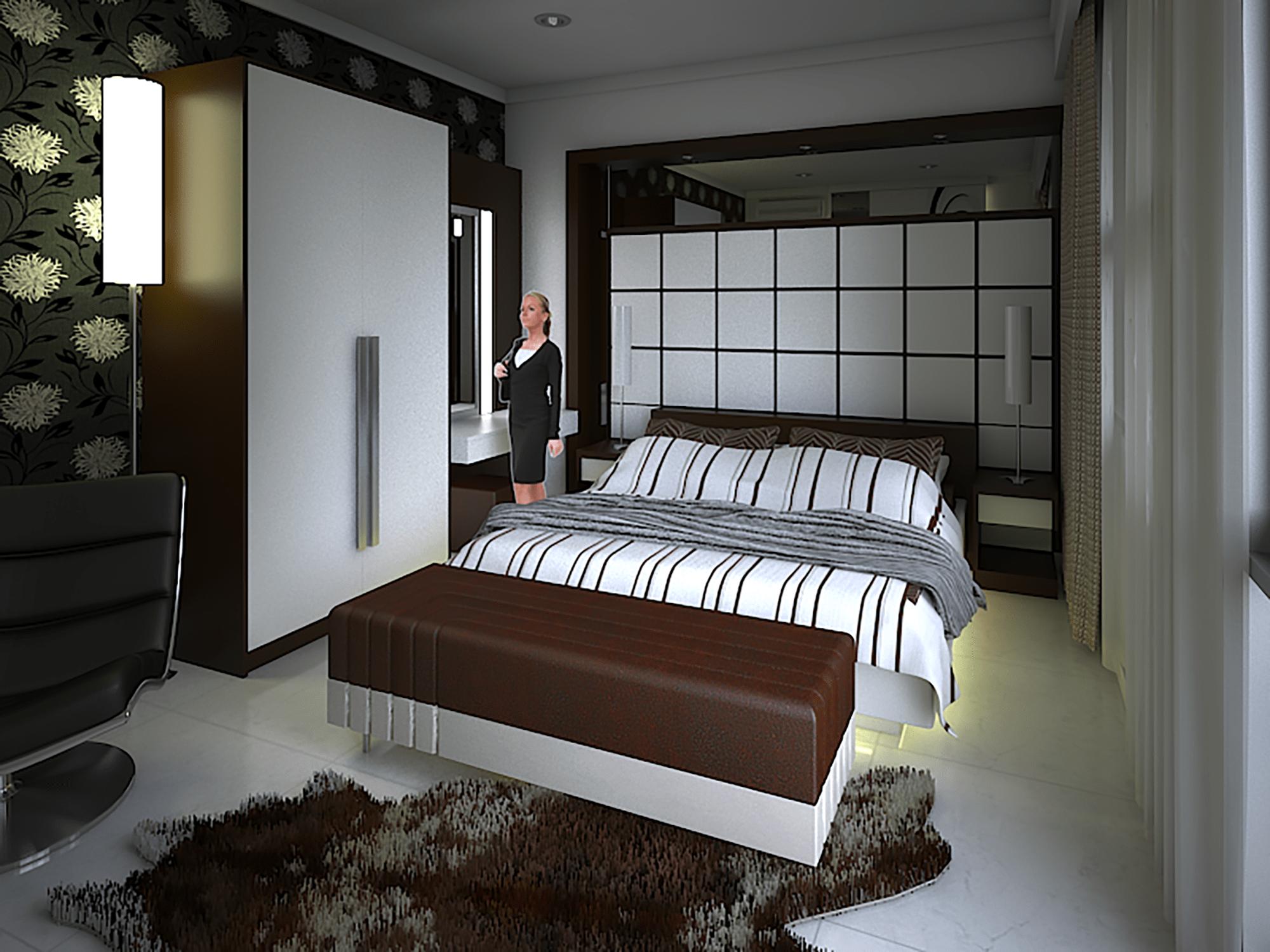 gambar arsitektur desain interior kamar tidur utama