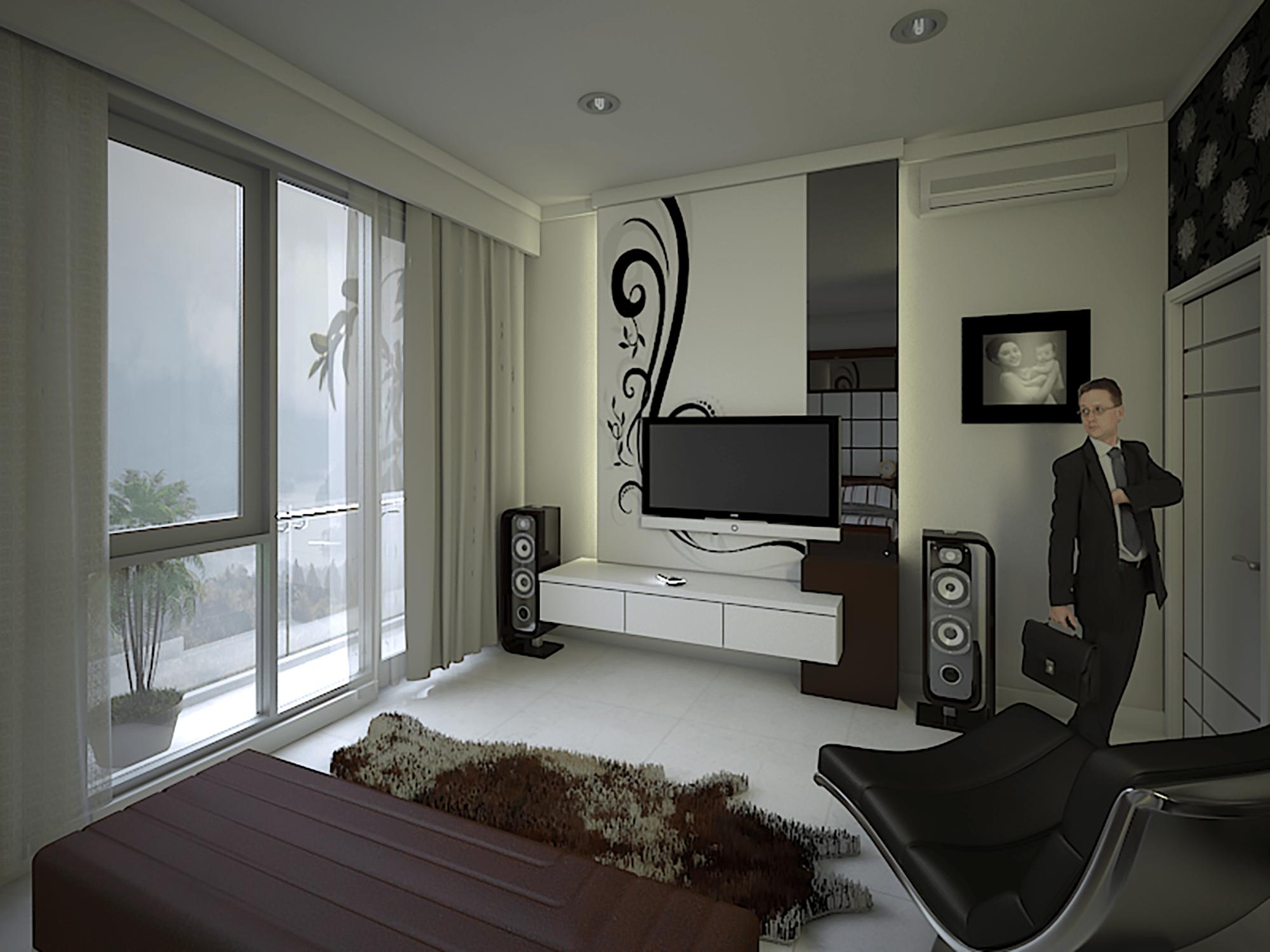 gambar arsitektur interior desain backdrop tv kamar tidur utama