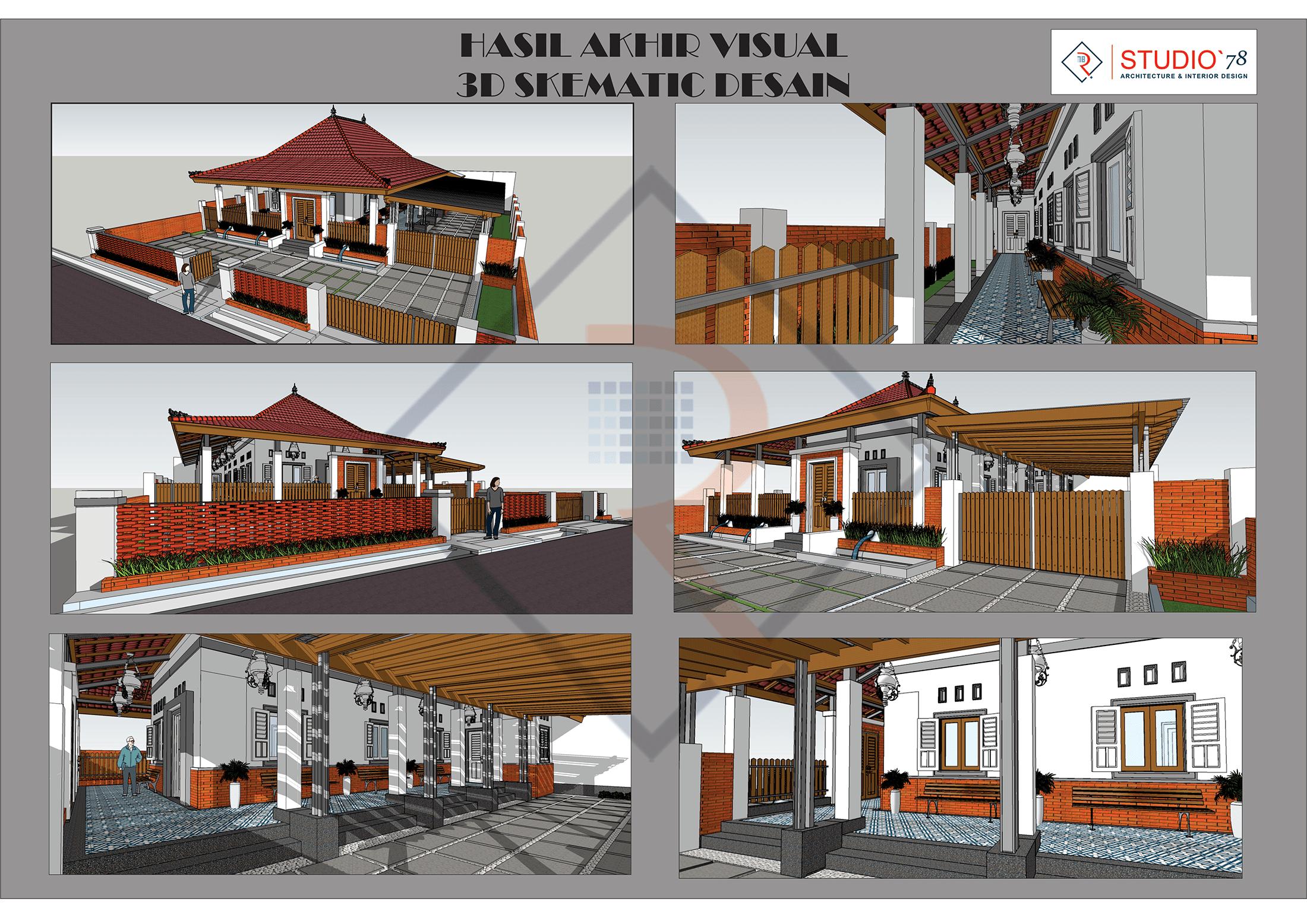 gambar 3d skematik desain arsitektur rumah etnik kontemporer di kepanjen jawa timur