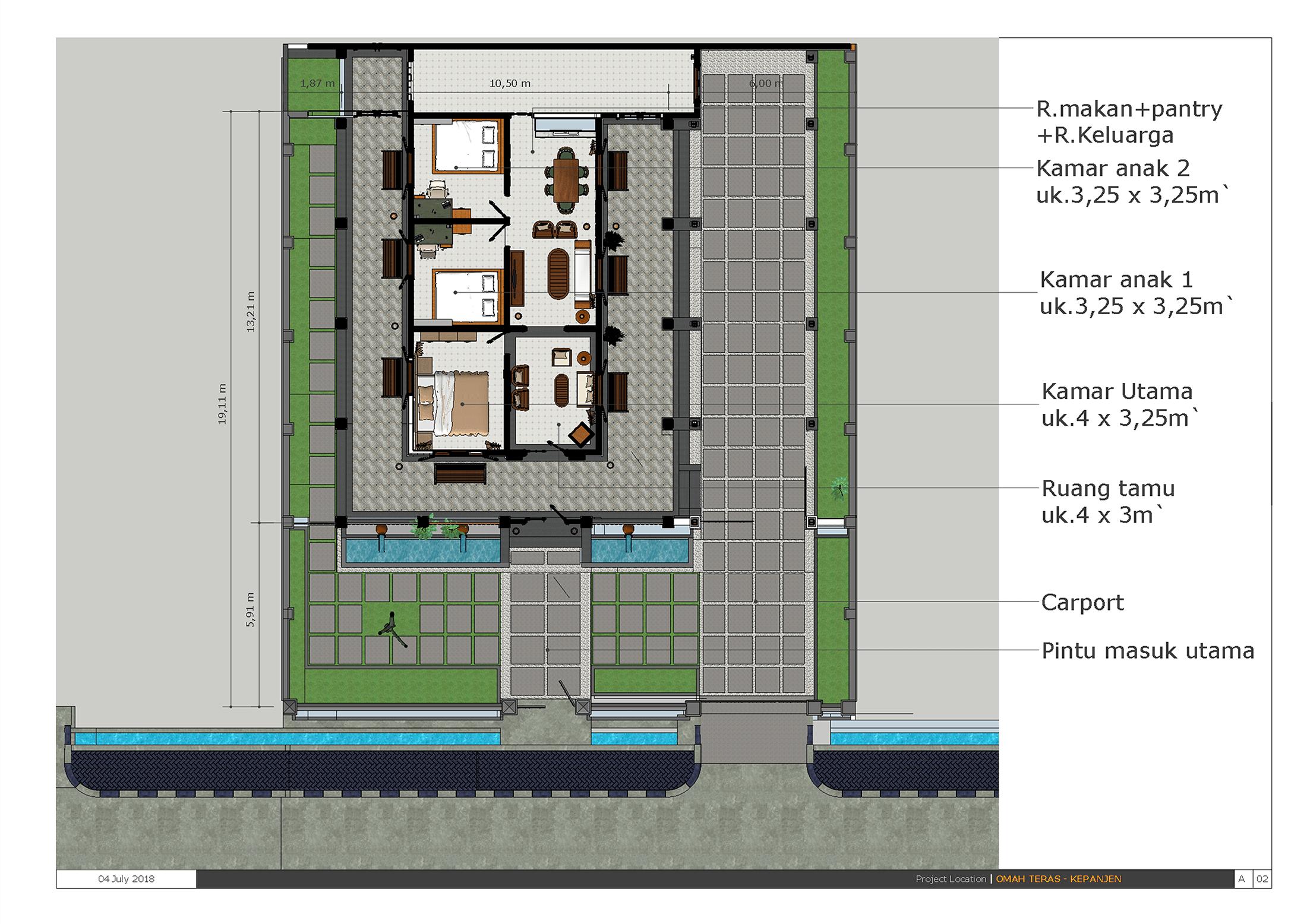 desain layout arsitektur siteplan rumah etnik kontemporer di kepanjen jawa timur